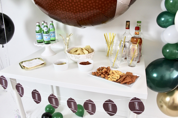 Snack & Beverage Table from a Football Party Drink & Snack Bar on Kara's Party Ideas | KarasPartyIdeas.com (5)