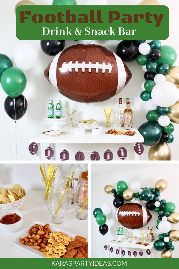 Football Party Drinks & Snack Bar via KarasPartyIdeas - KarasPartyIdeas.com