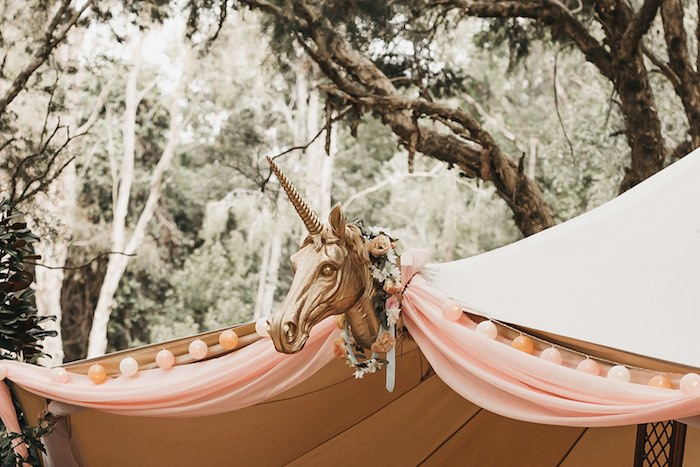 Tent Bunting + Decor from a Glam Boho Unicorn Birthday Party on Kara's Party Ideas | KarasPartyIdeas.com (31)