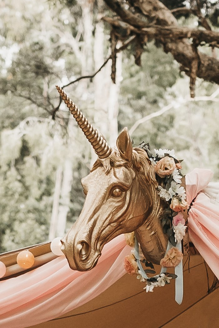 Gold Unicorn Head from a Glam Boho Unicorn Birthday Party on Kara's Party Ideas | KarasPartyIdeas.com (30)