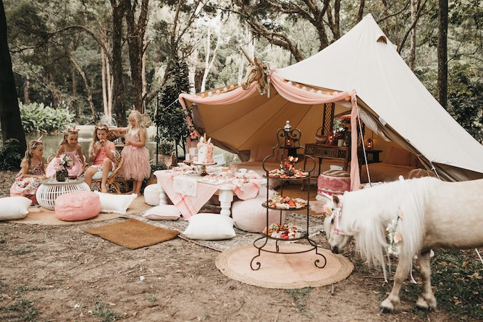 Glamacamp from a Glam Boho Unicorn Birthday Party on Kara's Party Ideas | KarasPartyIdeas.com (29)