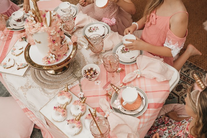 Pink Boho Picnic + Tea Table from a Glam Boho Unicorn Birthday Party on Kara's Party Ideas | KarasPartyIdeas.com (26)
