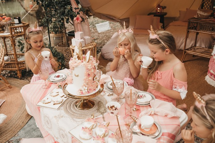 Pink Boho Picnic + Tea Table from a Glam Boho Unicorn Birthday Party on Kara's Party Ideas | KarasPartyIdeas.com (25)