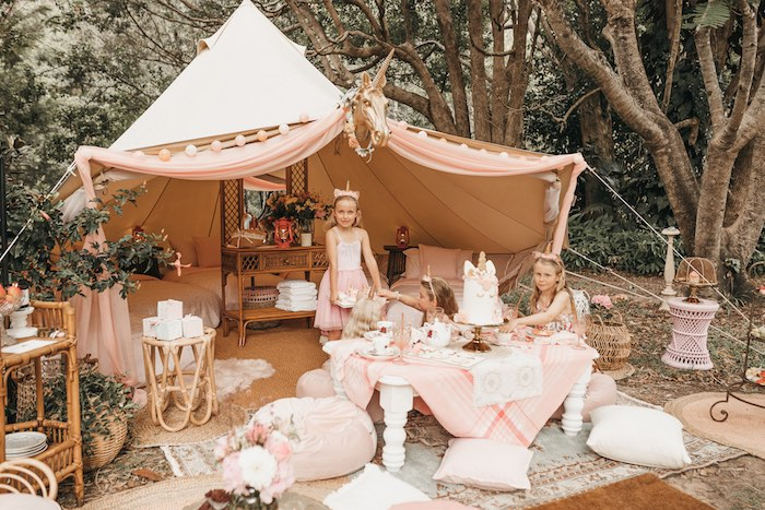 Glamacamp from a Glam Boho Unicorn Birthday Party on Kara's Party Ideas | KarasPartyIdeas.com (24)
