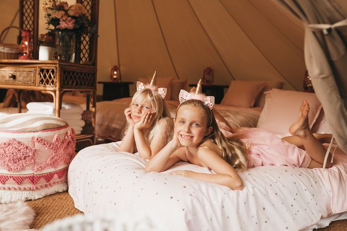 Bed + Tent Lounge from a Glam Boho Unicorn Birthday Party on Kara's Party Ideas | KarasPartyIdeas.com (23)