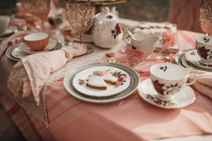 Tea Table Setting from a Glam Boho Unicorn Birthday Party on Kara's Party Ideas | KarasPartyIdeas.com (15)