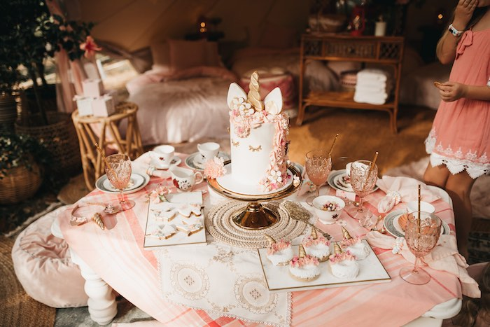 Unicorn Tea Table from a Glam Boho Unicorn Birthday Party on Kara's Party Ideas | KarasPartyIdeas.com (14)