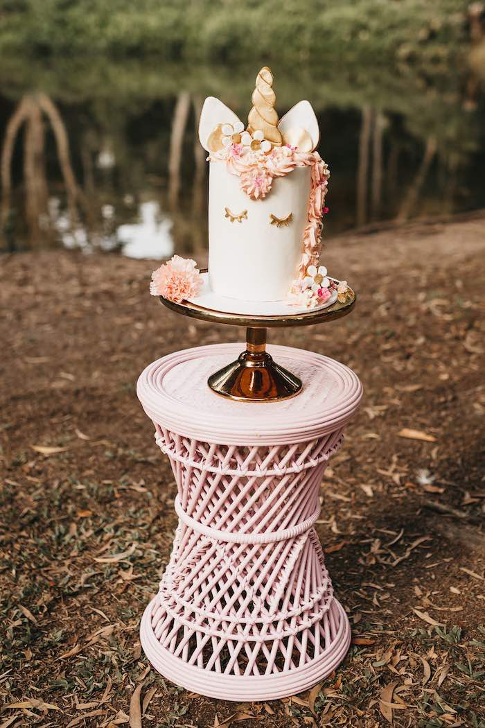 Pink Wicker Cake Table from a Glam Boho Unicorn Birthday Party on Kara's Party Ideas | KarasPartyIdeas.com (12)