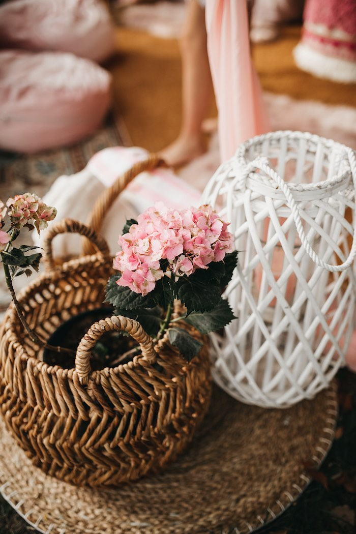 Baskets & Blooms from a Glam Boho Unicorn Birthday Party on Kara's Party Ideas | KarasPartyIdeas.com (11)
