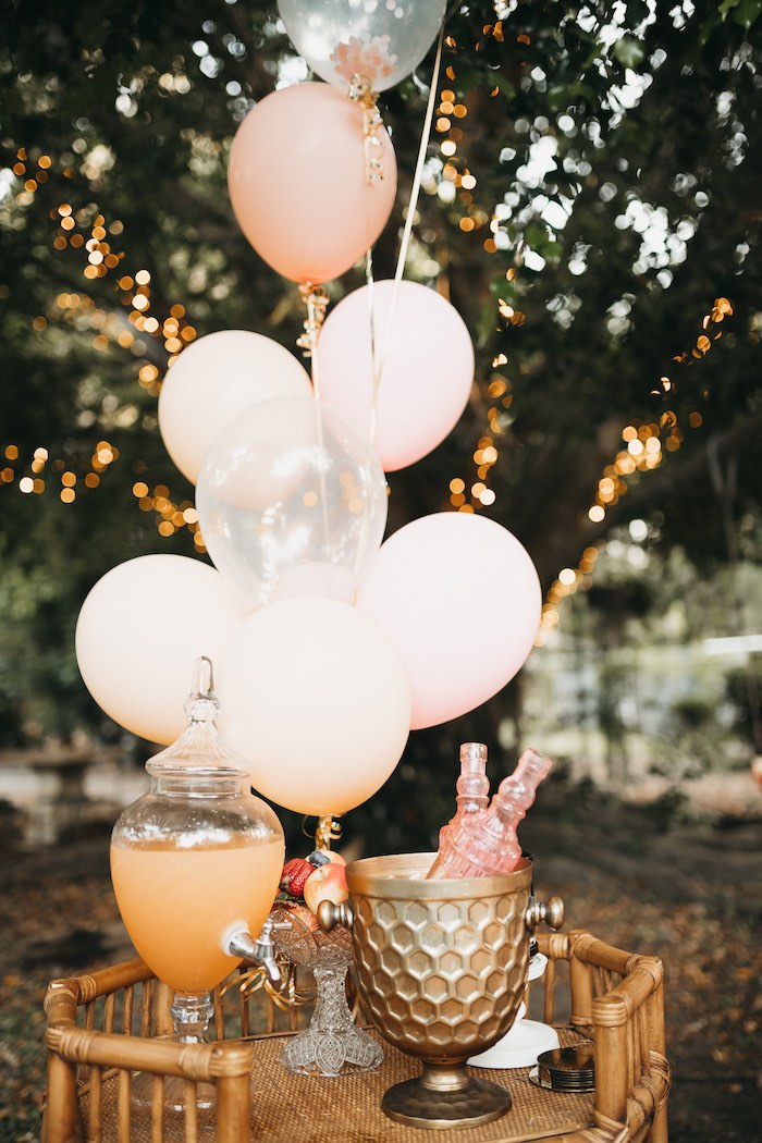 Ballooned- Beverage Table from a Glam Boho Unicorn Birthday Party on Kara's Party Ideas | KarasPartyIdeas.com (9)