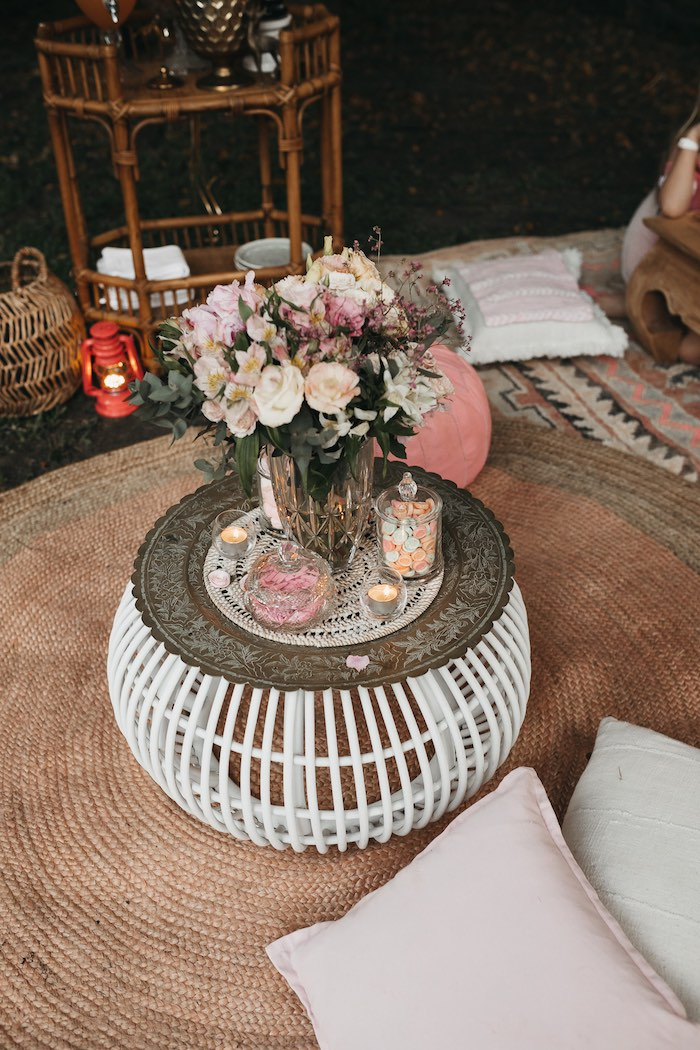 Basket Table from a Glam Boho Unicorn Birthday Party on Kara's Party Ideas | KarasPartyIdeas.com (6)