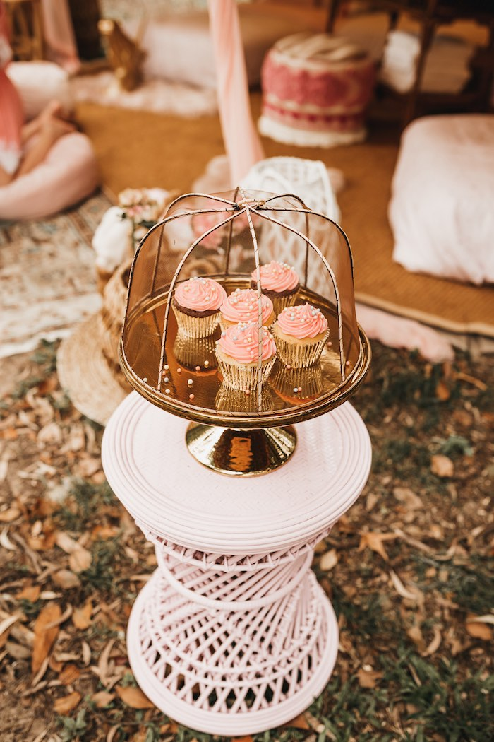 Cupcakes + Gold Cupcake Platter from a Glam Boho Unicorn Birthday Party on Kara's Party Ideas | KarasPartyIdeas.com (37)