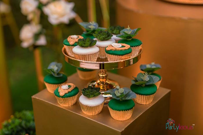 Greenery Cupcakes from a Glamorous Tropical Sweet 16 Birthday Party on Kara's Party Ideas | KarasPartyIdeas.com (21)