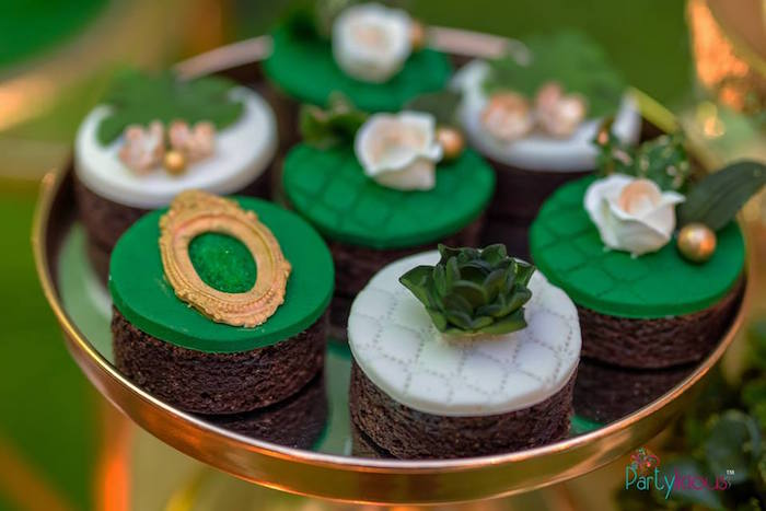 Brownie Bites with Fondant Toppers from a Glamorous Tropical Sweet 16 Birthday Party on Kara's Party Ideas | KarasPartyIdeas.com (19)