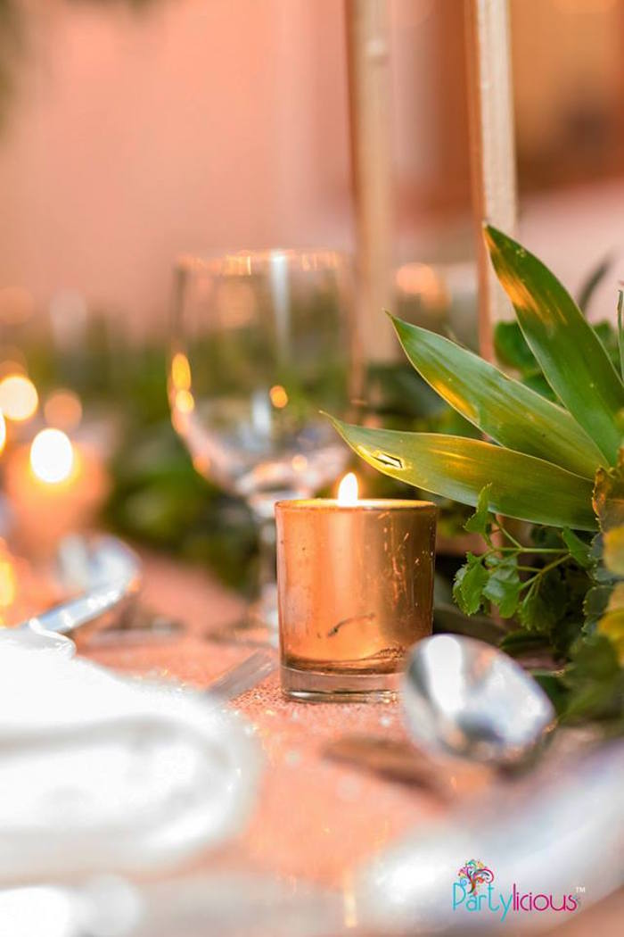 Gold Candle Holder from a Glamorous Tropical Sweet 16 Birthday Party on Kara's Party Ideas | KarasPartyIdeas.com (18)
