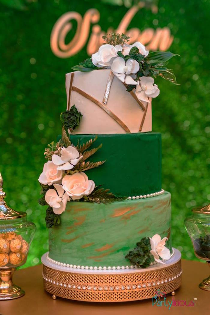 Green + White + Gold Floral Cake from a Glamorous Tropical Sweet 16 Birthday Party on Kara's Party Ideas | KarasPartyIdeas.com (16)