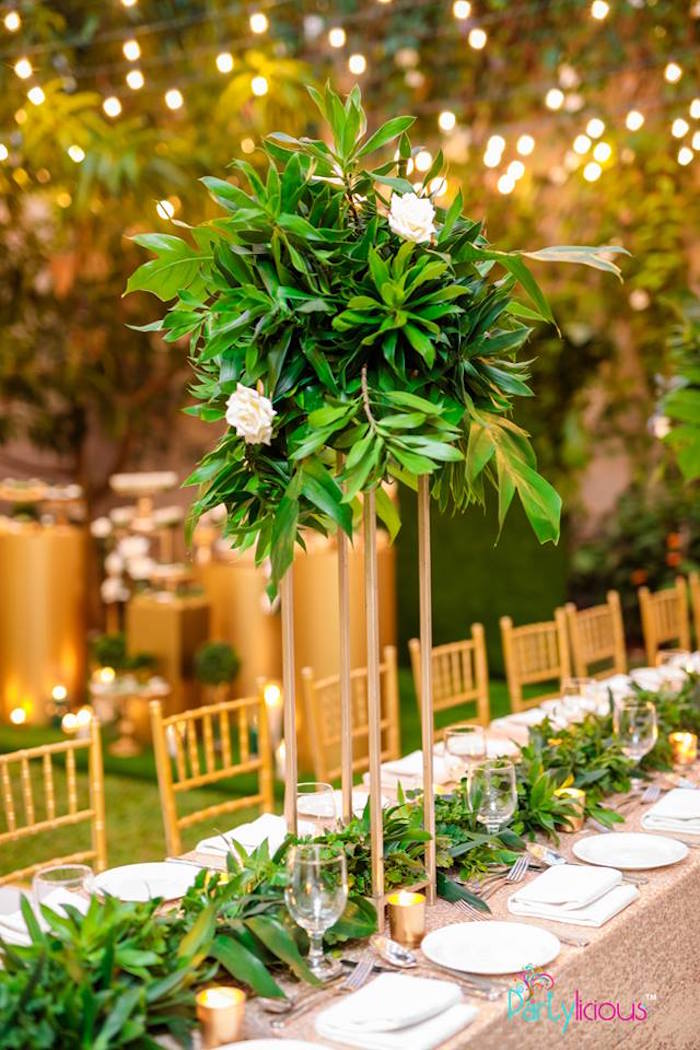Greenery Glam Table Centerpiece + Runner from a Glamorous Tropical Sweet 16 Birthday Party on Kara's Party Ideas | KarasPartyIdeas.com (15)
