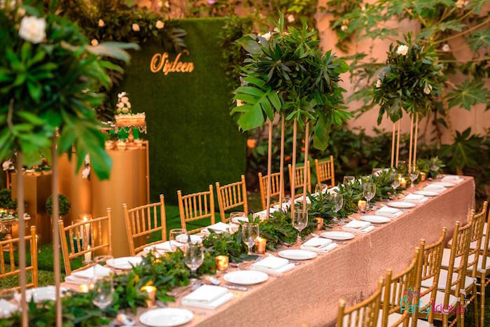 Blush + Green Guest Table from a Glamorous Tropical Sweet 16 Birthday Party on Kara's Party Ideas | KarasPartyIdeas.com (11)