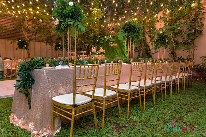 Blush + Green Guest Table from a Glamorous Tropical Sweet 16 Birthday Party on Kara's Party Ideas | KarasPartyIdeas.com (10)