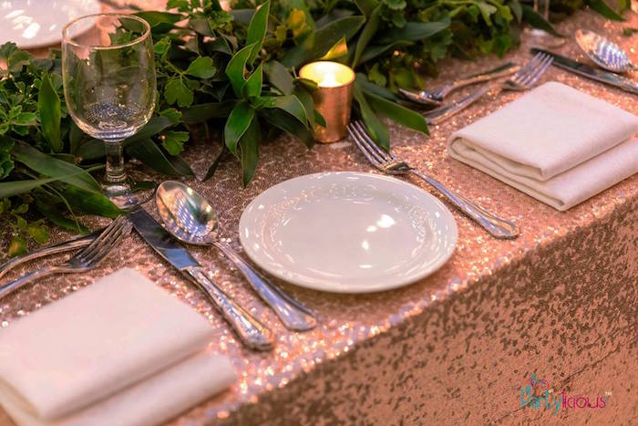 Glam Table Setting from a Glamorous Tropical Sweet 16 Birthday Party on Kara's Party Ideas | KarasPartyIdeas.com (9)