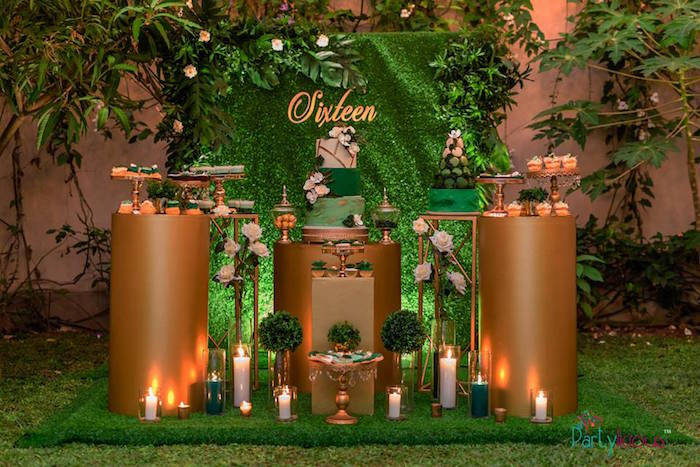 Gold + Green Dessert Spread from a Glamorous Tropical Sweet 16 Birthday Party on Kara's Party Ideas | KarasPartyIdeas.com (6)