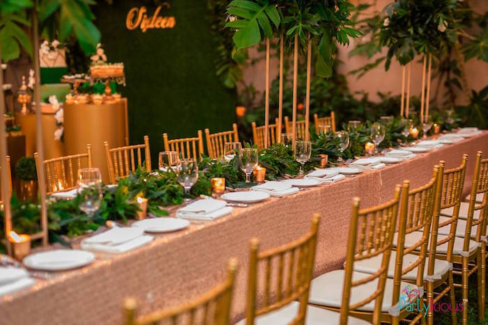 Sequin & Greenery-lined Guest Table from a Glamorous Tropical Sweet 16 Birthday Party on Kara's Party Ideas | KarasPartyIdeas.com (5)