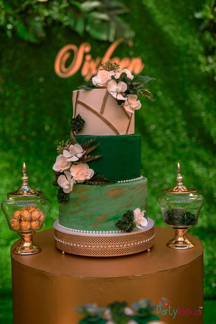 Green Glam Cake from a Glamorous Tropical Sweet 16 Birthday Party on Kara's Party Ideas | KarasPartyIdeas.com (28)