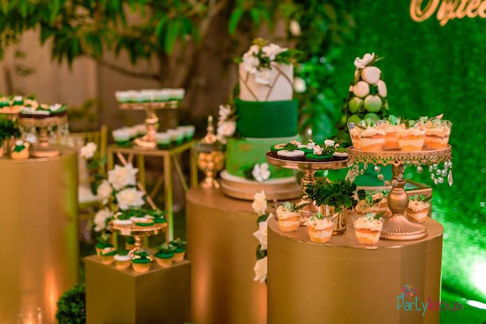 Gold Pedestal Table Dessert Spread from a Glamorous Tropical Sweet 16 Birthday Party on Kara's Party Ideas | KarasPartyIdeas.com (25)