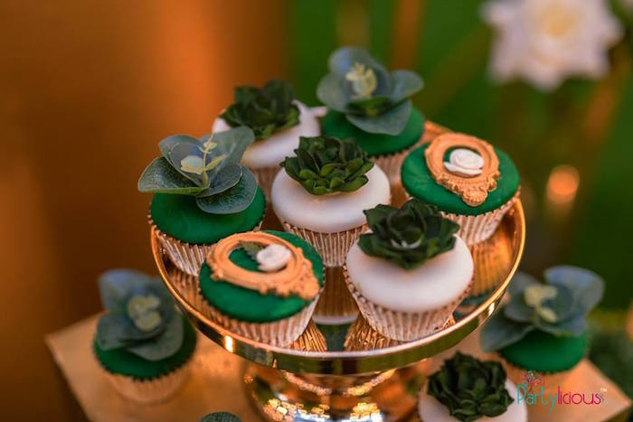 Succulent + Cameo Cupcakes from a Glamorous Tropical Sweet 16 Birthday Party on Kara's Party Ideas | KarasPartyIdeas.com (24)