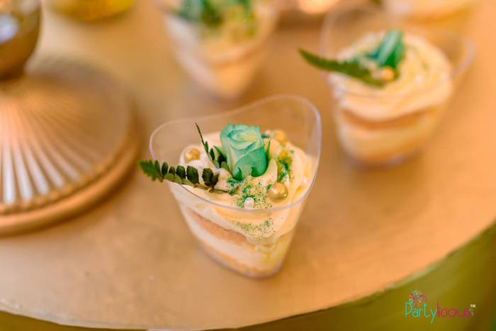 Green Rose-topped Dessert Cup from a Glamorous Tropical Sweet 16 Birthday Party on Kara's Party Ideas | KarasPartyIdeas.com (23)