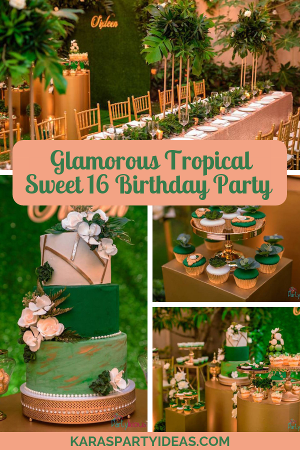 Glamorous Tropical Sweet 16 Birthday Party via Kara's Party Ideas - KarasPartyIdeas.com