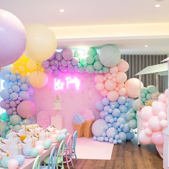 Ice Cream Themed Balloon Backdrop from a Here's the Scoop Pastel Ice Cream Party on Kara's Party Ideas | KarasPartyIdeas.com (10)