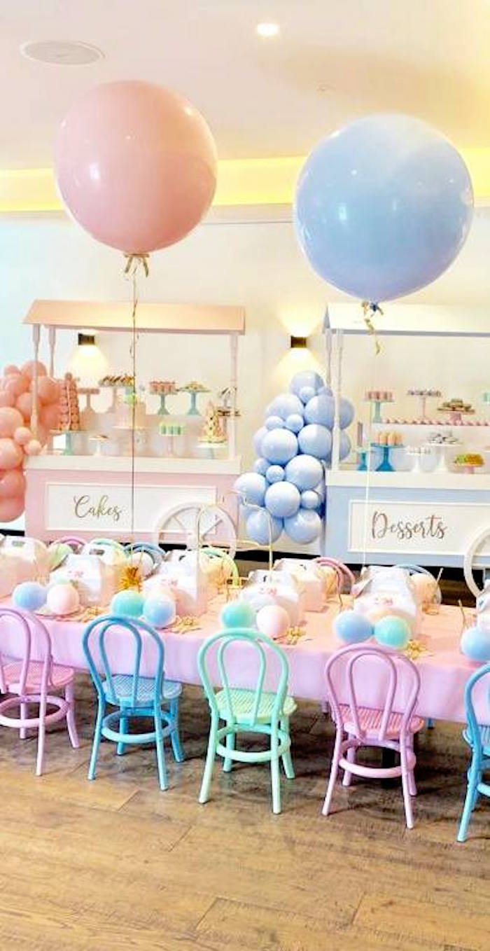 Dessert Stands + Pastel Party Table from a Here's the Scoop Pastel Ice Cream Party on Kara's Party Ideas | KarasPartyIdeas.com (8)