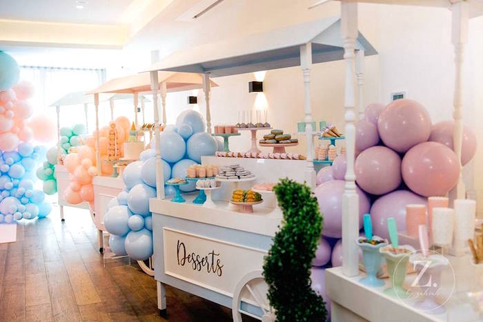 Dessert Stand from a Here's the Scoop Pastel Ice Cream Party on Kara's Party Ideas | KarasPartyIdeas.com (7)