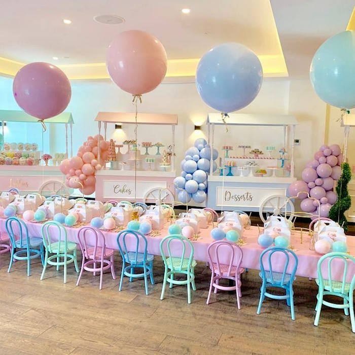 Pastel Party + Guest Table from a Here's the Scoop Pastel Ice Cream Party on Kara's Party Ideas | KarasPartyIdeas.com (6)