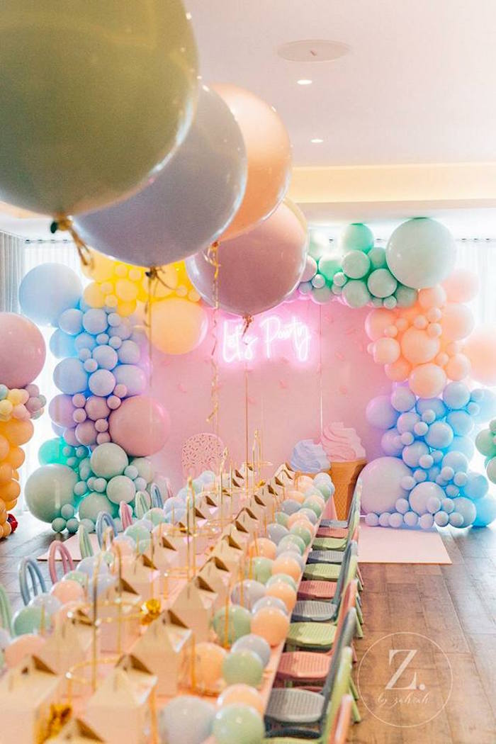 Balloon-adorned Party Table from a Here's the Scoop Pastel Ice Cream Party on Kara's Party Ideas | KarasPartyIdeas.com (19)