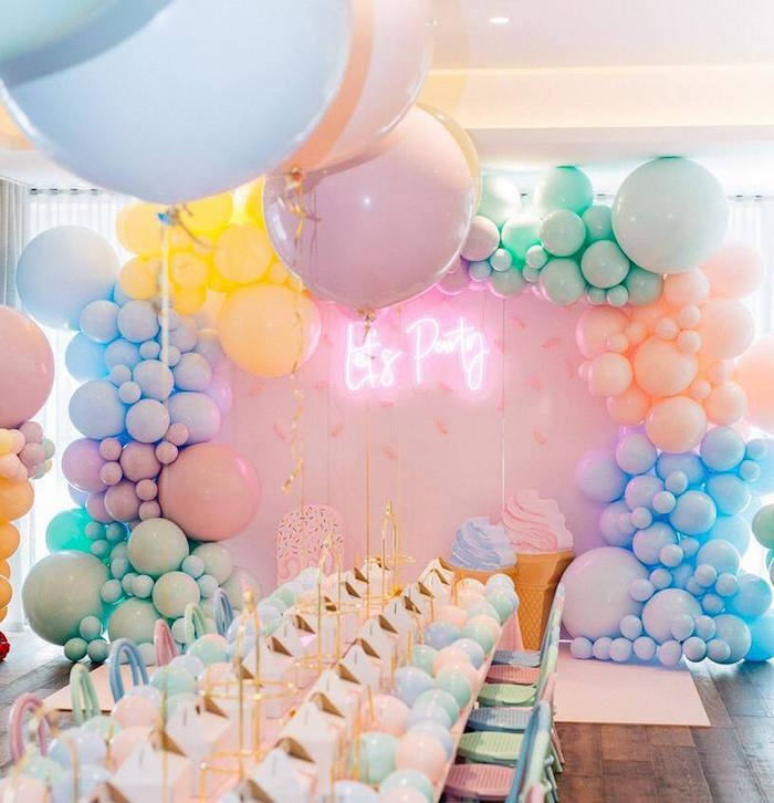 LET'S PARTY BALLOON BACKDROP from a Here's the Scoop Pastel Ice Cream Party on Kara's Party Ideas | KarasPartyIdeas.com (15)
