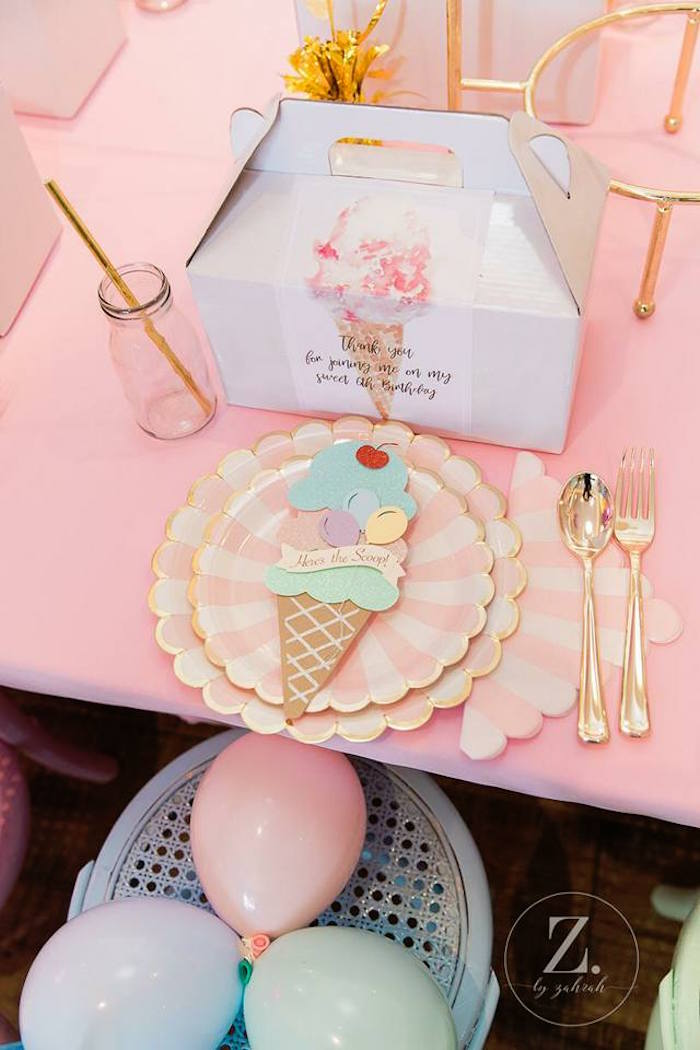 15ec9f07dbb ... Ice Cream Themed Table Setting from a Here s the Scoop Pastel Ice Cream  Party on Kara s ...