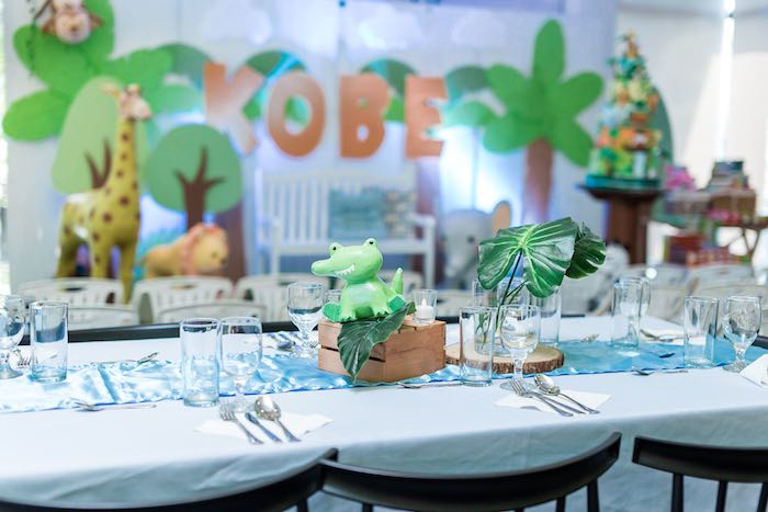 Crocodile Guest Table from a Jungle Safari Birthday Party on Kara's Party Ideas | KarasPartyIdeas.com (30)