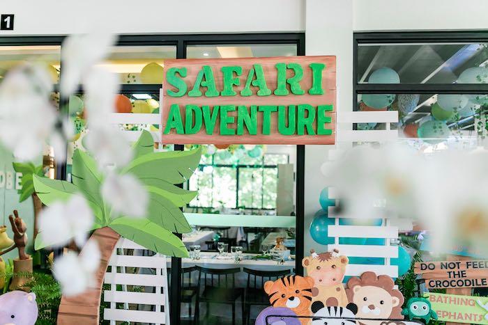 Wooden Safari Adventure Sign from a Jungle Safari Birthday Party on Kara's Party Ideas | KarasPartyIdeas.com (26)