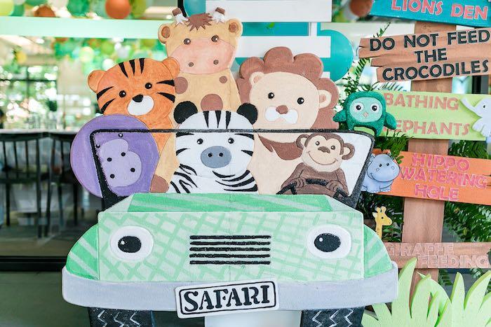 Safari Animal Jeep Standee from a Jungle Safari Birthday Party on Kara's Party Ideas | KarasPartyIdeas.com (25)