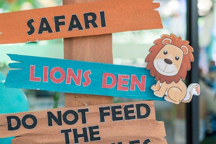 Safari Directional Sign from a Jungle Safari Birthday Party on Kara's Party Ideas | KarasPartyIdeas.com (23)