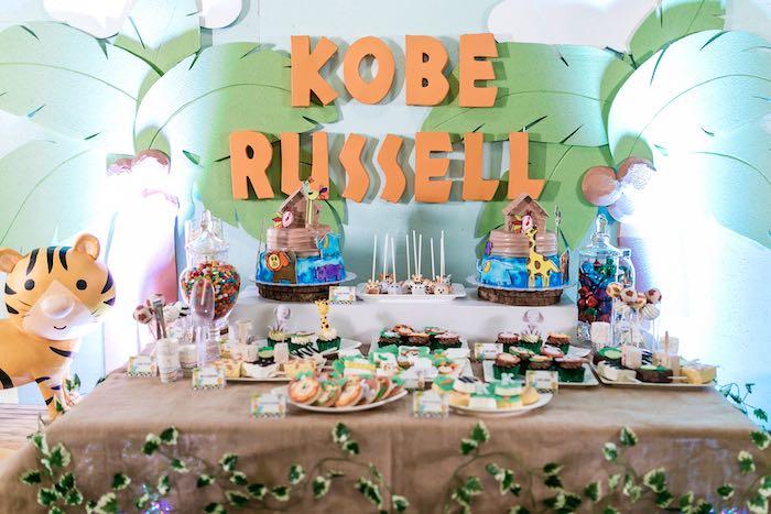 Jungle Dessert Table from a Jungle Safari Birthday Party on Kara's Party Ideas | KarasPartyIdeas.com (21)