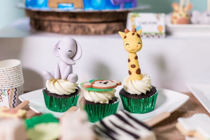 Safari Animal Cupcakes from a Jungle Safari Birthday Party on Kara's Party Ideas | KarasPartyIdeas.com (14)