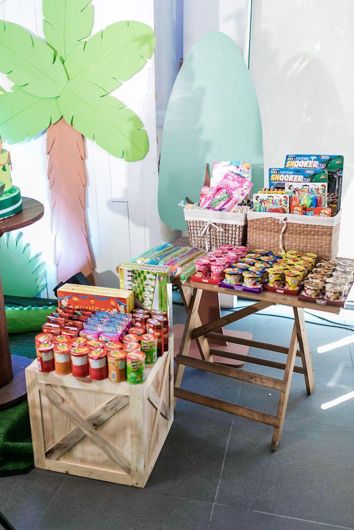 Snack + Favor Table from a Jungle Safari Birthday Party on Kara's Party Ideas | KarasPartyIdeas.com (13)