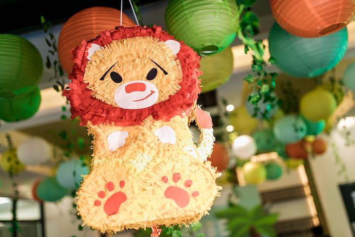 Lion Pinata from a Jungle Safari Birthday Party on Kara's Party Ideas | KarasPartyIdeas.com (12)