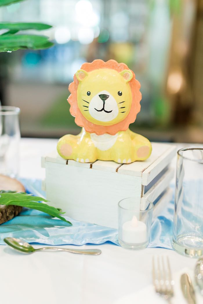 Wood Crate Lion Table Centerpiece + Guest Table from a Jungle Safari Birthday Party on Kara's Party Ideas | KarasPartyIdeas.com (38)