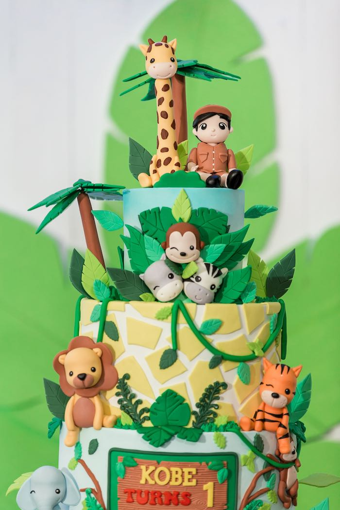 Safari Animal Cake from a Jungle Safari Birthday Party on Kara's Party Ideas | KarasPartyIdeas.com (9)