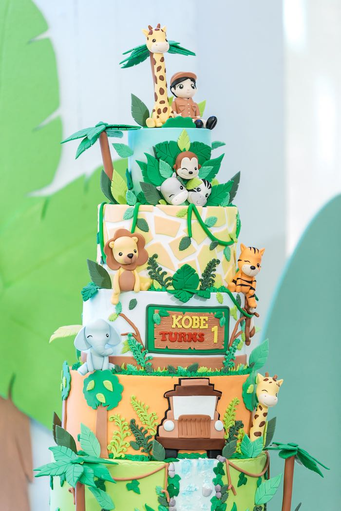 Safari Animal Cake from a Jungle Safari Birthday Party on Kara's Party Ideas | KarasPartyIdeas.com (7)