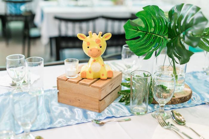 Wood Crate Giraffe Centerpiece + Guest Table from a Jungle Safari Birthday Party on Kara's Party Ideas | KarasPartyIdeas.com (37)